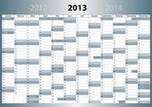 Kalender 2013, ドイツ語, din 形式, mit feiertagen — ストックベクタ