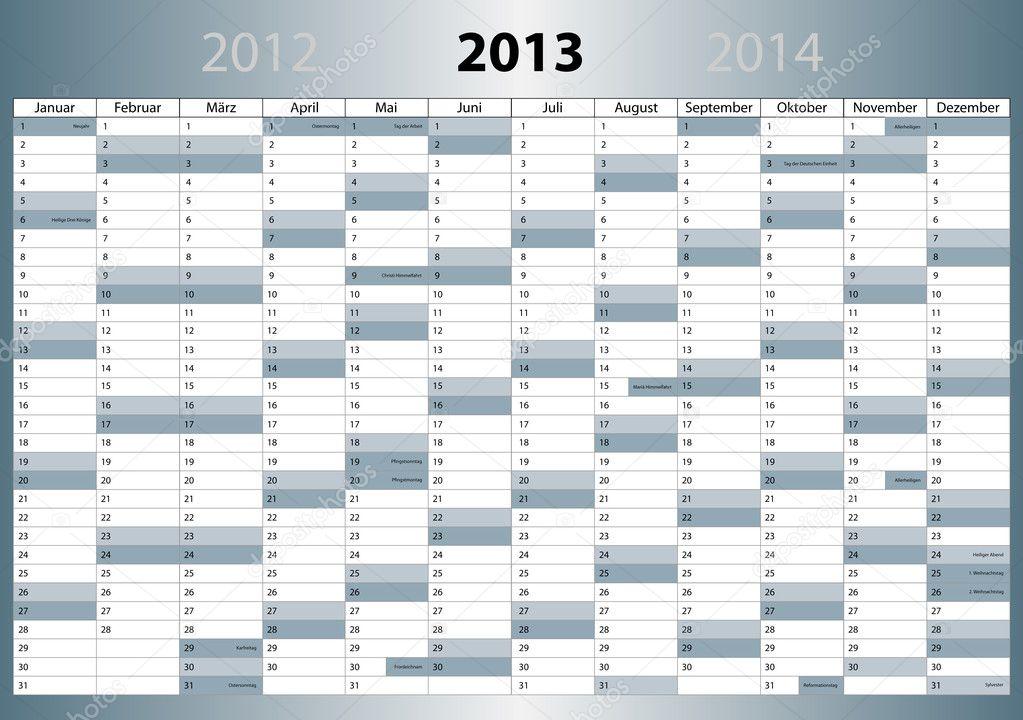 kalender 2013 deutsch din format mit feiertagen stock vector 8957334. Black Bedroom Furniture Sets. Home Design Ideas