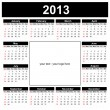 Calendar 2013, english — Stockvectorbeeld