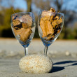 Wine glasses with autumn leaves - Stock Photo