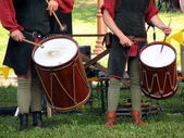 Drumers on the knight torurnament — Stock Photo