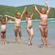 KIds on the sunny beach — Stock Photo