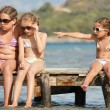 Children on the pier — Stock Photo