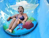 Woman in water park — Stock Photo