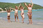 KIds on the sunny beach — Stock Photo
