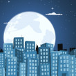 Stock Vector: Cartoon Buildings Background In The Moonlight