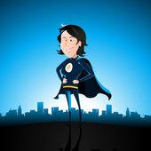 Cartoon Blue Super Lady — Stock Vector