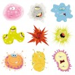 Cartoon Germs, Virus And Microbes - Stock Vector