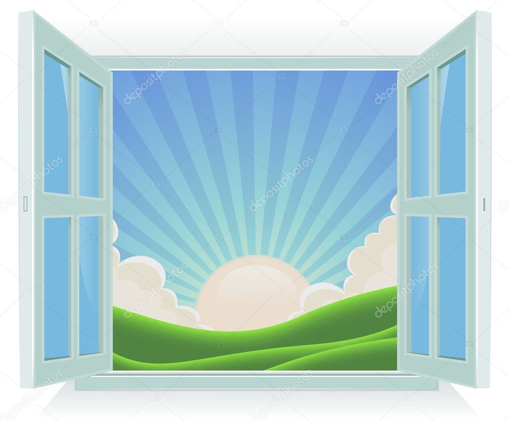 Illustration of spring or summer sunrise landscape viewed by an open window  Stock Vector #10714751