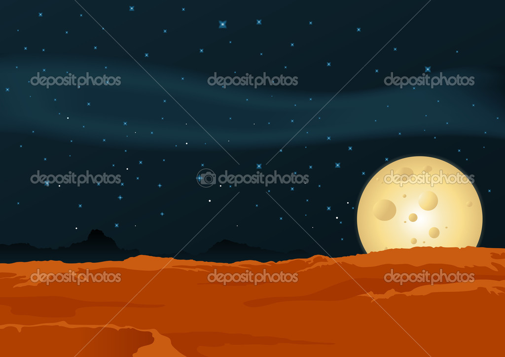 Illustration of a desert lunar landscape background poster — Stock Vector #7983758