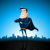 Cartoon Blue Superhero — Stock Vector