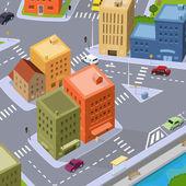 Cartoon City Traffic — Stock Vector