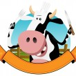 Cartoon Cow Banner — Stock Vector