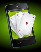 Smartphone hazardu - asy pokera — Wektor stockowy