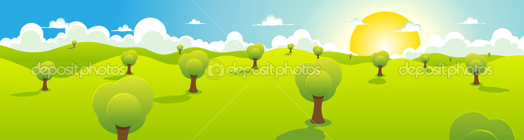 卡通春天或夏天风景与树木