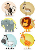 African Jungle Animals Collection — Stock Vector
