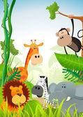 Wild Animals Background — Stock Vector