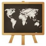 Карта мира на доске классе — Cтоковый вектор