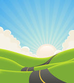 Blue Summer Landscape Road — Stock Vector