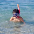 Boy with snorkel mask — Stock Photo