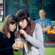 Drinking smoothies — Stock Photo
