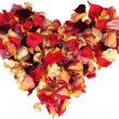 Dry rose petals heart — Stock Photo