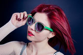 Readhead girl with glasses — Stock Photo