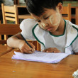 Stock Photo: Young girl student at school, portrait, Myanmar