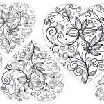 zdobené srdce s květinami — Stock vektor