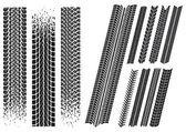 Ensemble d'empreintes de pneus de voiture différente — Vecteur