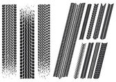 Set of different car tyre imprints — Stockvector