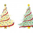 Royalty-Free Stock Vector Image: Couple of christmas trees made by stars