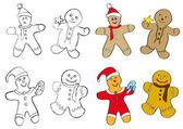 Gingerbread men cookies — Stock Vector
