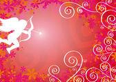 Cornice con cupido, fiori e cuori — Stock Vector