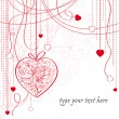 Valentine card with hanging hearts — Vettoriali Stock