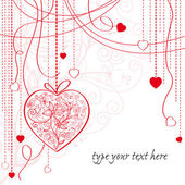 Valentine card with hanging hearts — Stock Vector