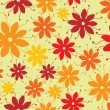 Stock Vector: Flower seamless pattern seventies style