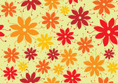Flower seamless pattern seventies style — Stock Vector