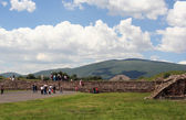 Mexico, Teotihuacan ancient city and clouds — Stock Photo