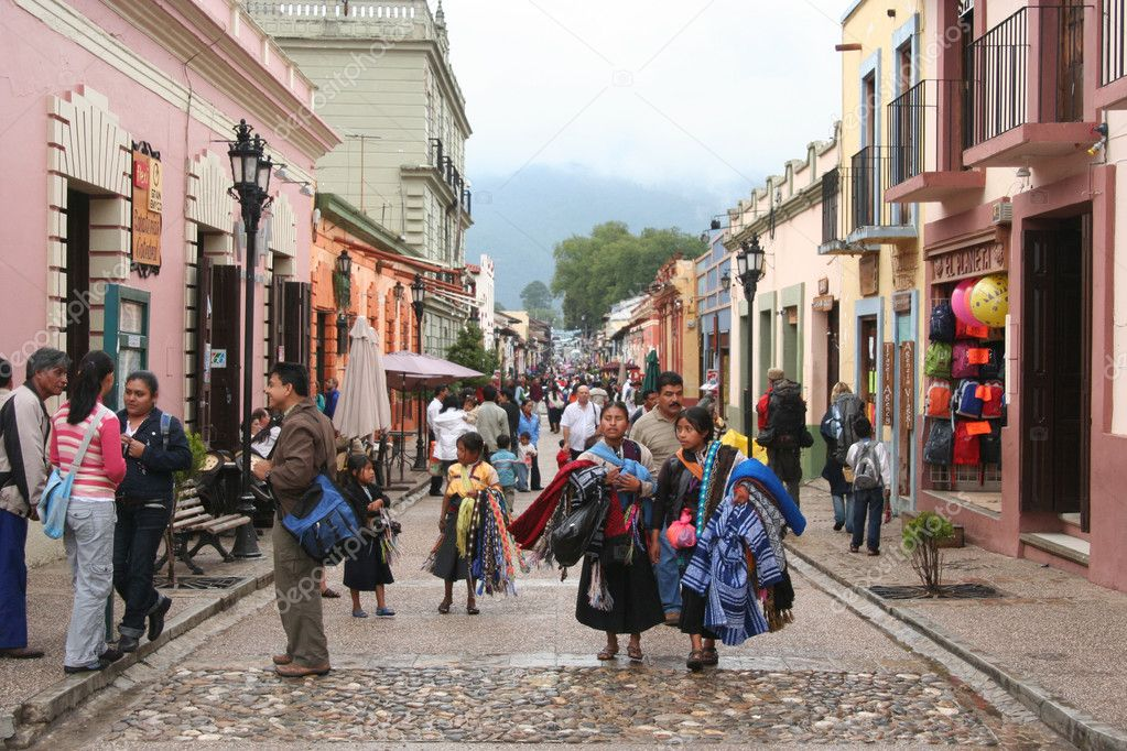 Mexican road with local , tourists and shops, San Cristobal de Las Casas, Chiapas  Stock Photo #9012845