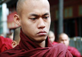 Serious Myanmar monk's portrait — Stock Photo