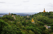 Myanmar landscape with golden pagodas — Stock Photo