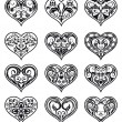 Valentine ornamental heart-shaped floral decorations - Stock Vector