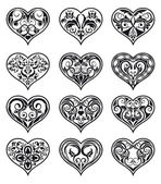 Valentine ornamental heart-shaped floral decorations — Stock Vector