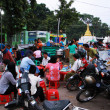 Stock Photo: Open restaurants and traffic in Myanmar