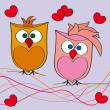 Stock Vector: Couple of owls in love