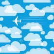 Planes in the cloudly sky — Stock Vector