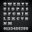 Set of matte metal letters on black - Stockvektor