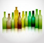 Andere farbe-glas-flaschen-gruppe — Stockvektor