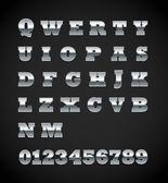 Set of matte metal letters on black — Stock Vector